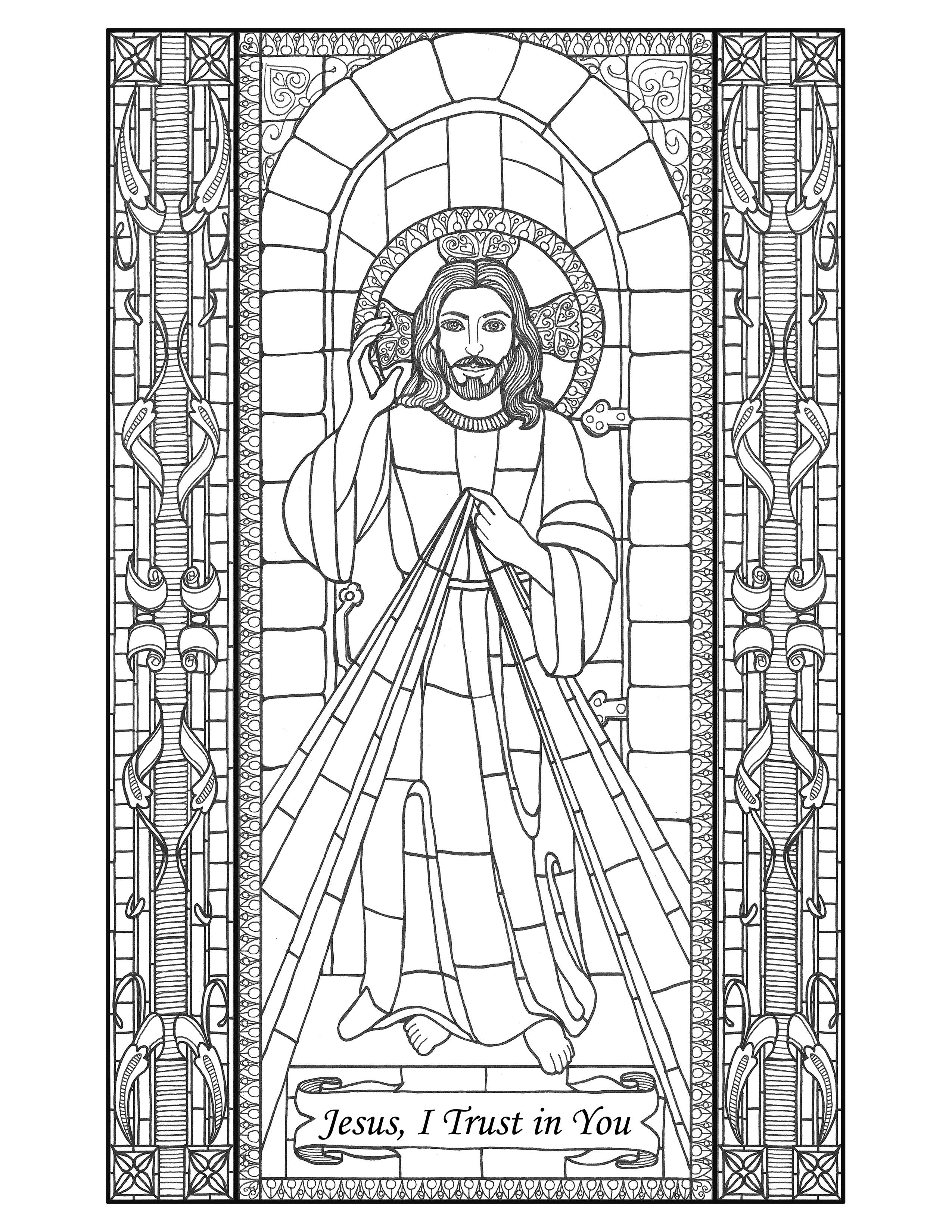 21+ Stained Glass Coloring Pages ❤+❤ Church Window Printables | 3300x2550