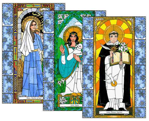 Stained Glass Saints of January Window Cling