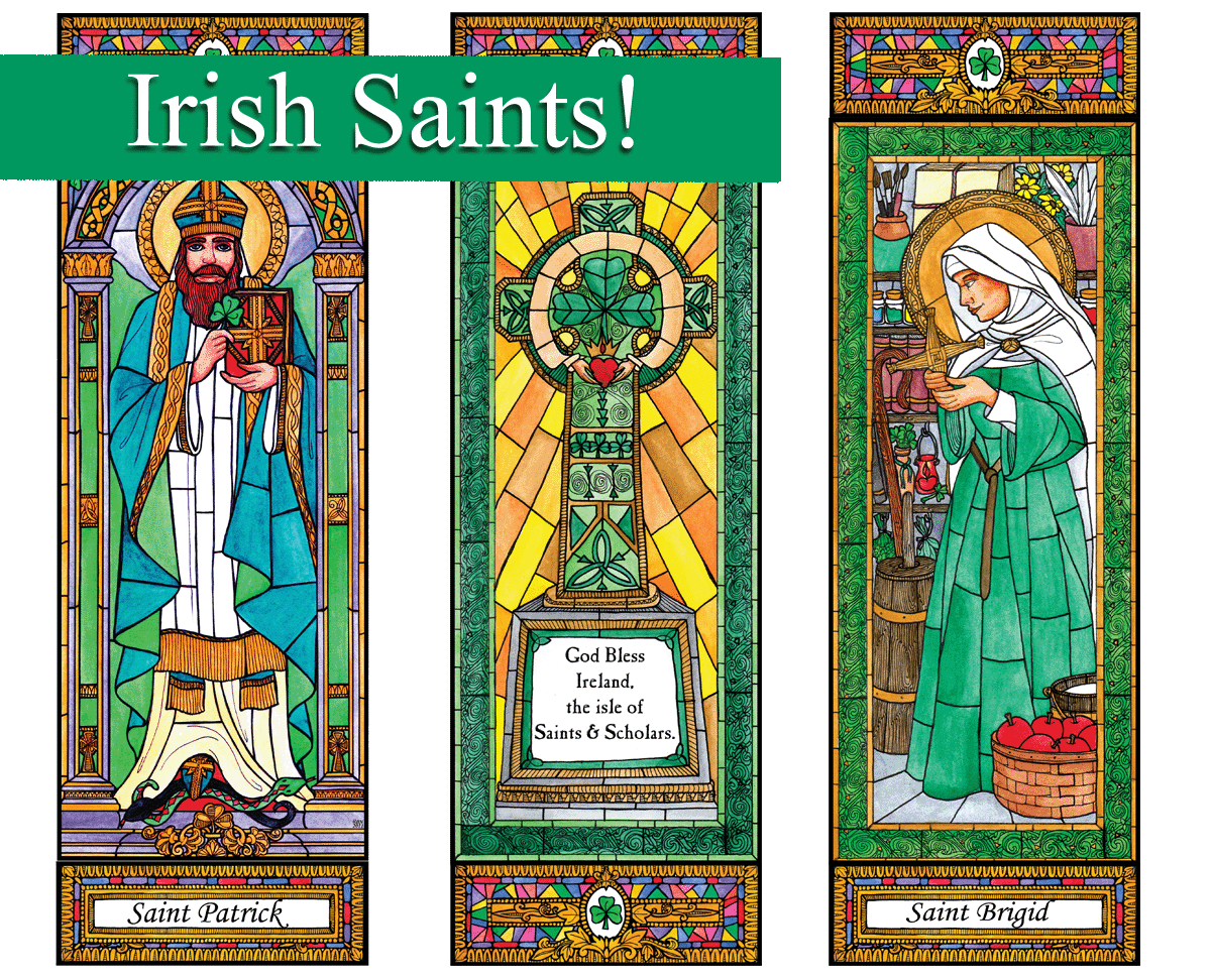 Stained Glass Irish Saints