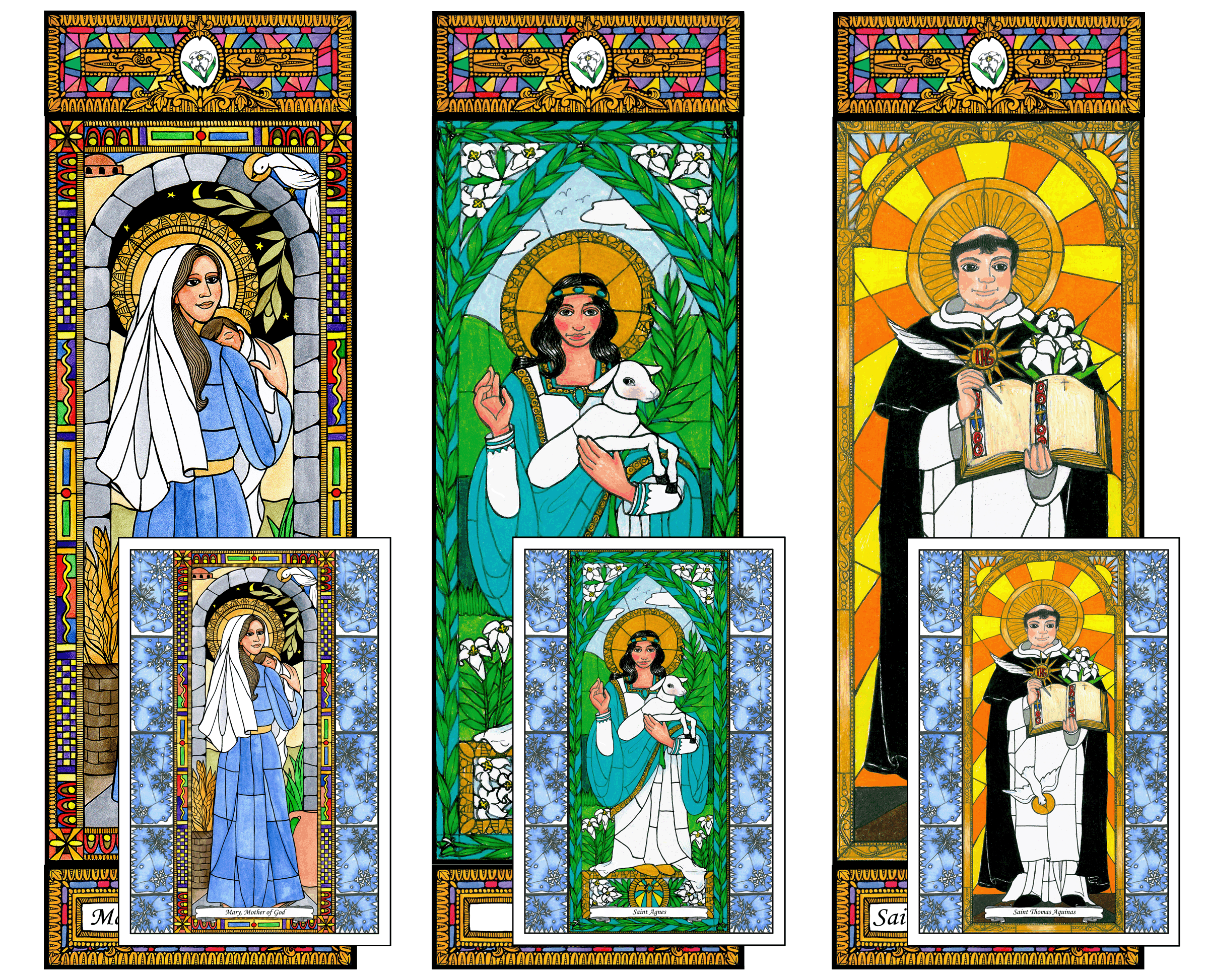 Stained Glass Saints of January Window Cling Combo