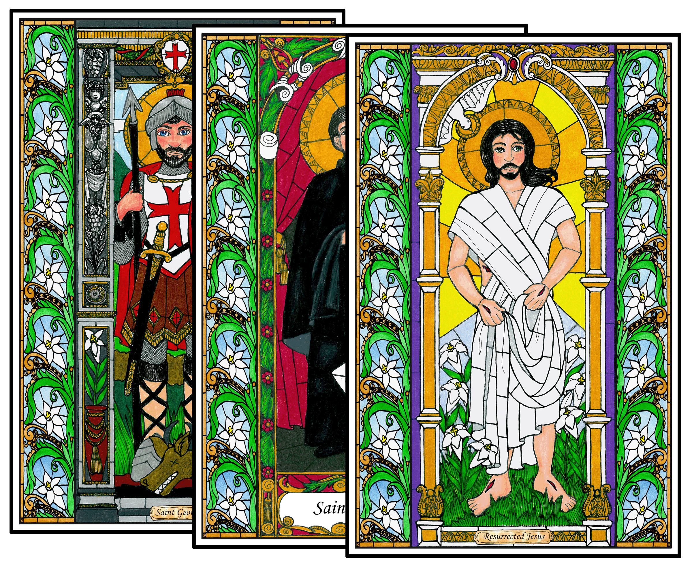 Stained Glass Saints of April